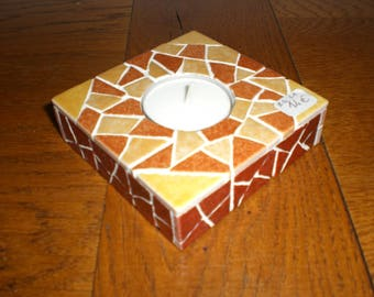 The ochre and yellow mosaic Square candle holder