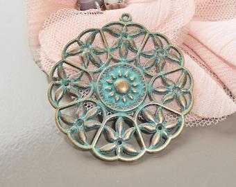 pendant, prints, support loop dangle pendant bronze gold and green verdigris patina antique 47x44x3mm x 4