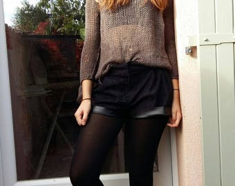 High waisted shorts in imitation suede