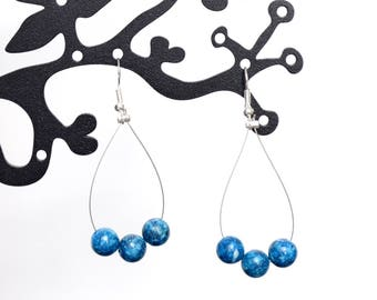 Earrings blue turquoise beads