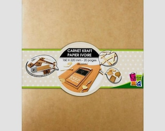 Kraft notebook with 16 x 22 cm with 20 blank ivory pages - Toga.
