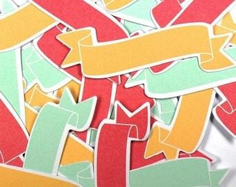 Die cut - embellishments - set of 24 banner red, Orange and blue 7.9 x 2.4 cm. TOGA