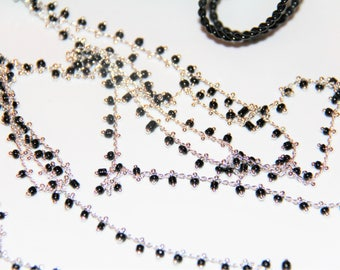 20 cm chain meshed silver metal with black seed beads