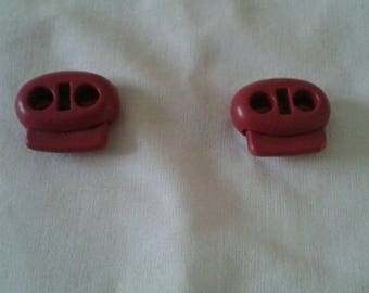 set of 2 red push button
