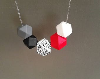 Silicone, wood and stainless steel necklace minimal design
