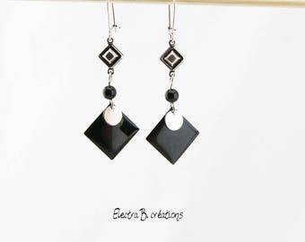 Graphic black and silver diamond earrings