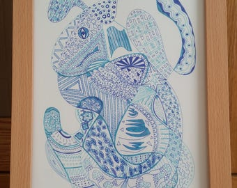 Blue bunny - Signed Limited Edition Fine Art A4 Giclee Print on Bamboo Paper