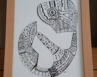 Abstract black and white drawing - Signed Limited Edition Fine Art A4 Giclee Print on Bamboo Paper