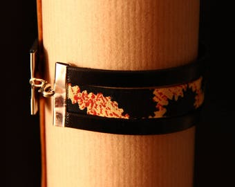 Bracelet wax and leather - Tan