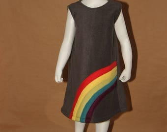 Rainbow - Grey fleece girl dress - 4 years