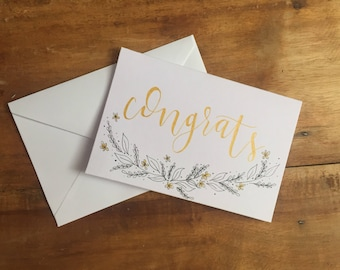 Hand Drawn Congratulations Card // Gold
