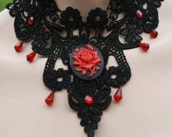 Red pink black - Halloween Goth Gothic Choker - necklace lace