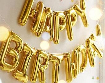 Giant 16'' HAPPY BIRTHDAY Balloon, Gold Foil Balloon, Birthday Party Favor, Letter Balloons, Gold Balloon, Photo Prop, Birthday Party Decor