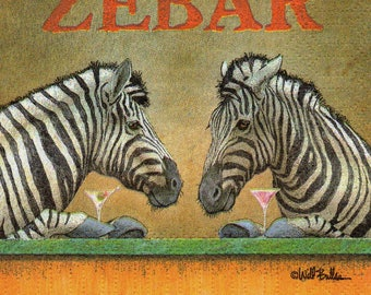 COCK 116 the ZEBRAS 1 paper cocktail napkin