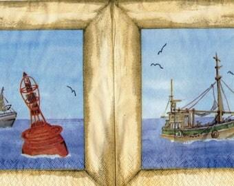 416 - Fishing boats - paper towel