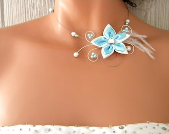 Flower turquoise Ines Silver White Pearl wedding bridal necklace