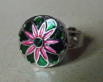 Ring metal flower Snap and enamel adjustable size