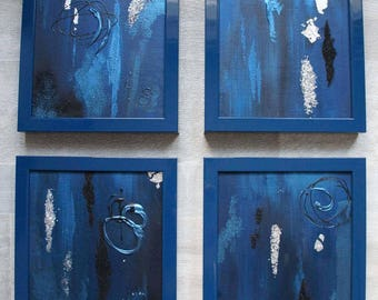 Abstract painting blue, silver and black
