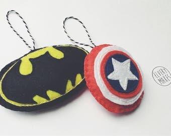 Superhero logo felt decoration