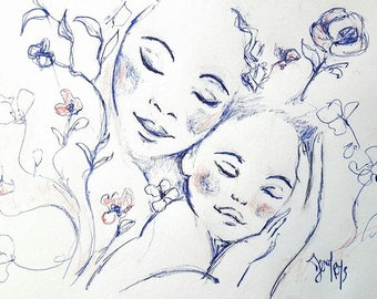 Drawing portrait of a mother and her baby