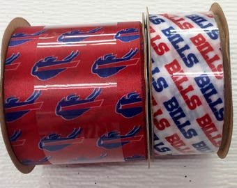 FREE SHIPPING- 2 Piece Ribbon Set - Buffalo Bills - NFL Licensed Offray Ribbon