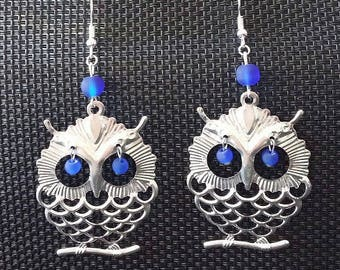"""Big Blue OWL"" earrings 7.5 cm"