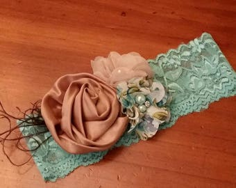 Custom Shabby Chic Lace stretchy Headband, boutique bow, vintage pearls, ostrich maribou feathers, turquoise cream, ivory