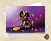 Little artist painter and pallet puppy greeting card