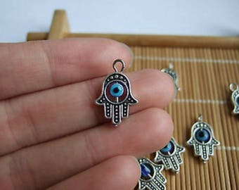 Hamsa with rotating blue evil eye Pedant, Charms for Necklace or bracelet