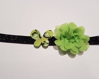 Black baby glitter - lime green headband