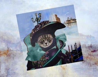 Square card with cat: my beautiful Venetian