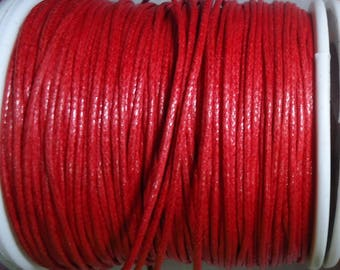5 m of red waxed cotton cord 1 mm in diameter