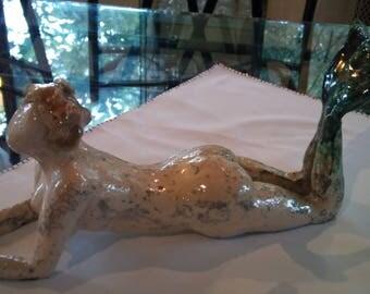 The Naiad. White stoneware sculpture. Raku firing