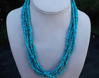 Sleeping Beauty Turquoise Nugget Chip necklace, Multi Strand Nuggets Sterling silver