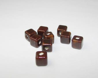 Dark brown ceramic bead cube 8.00 mm.