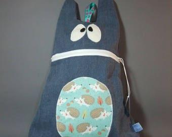 Funny Monster shaped kids blue denim bag