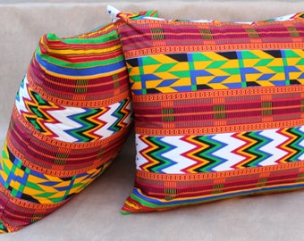 African print pillow covers - Set of 2- African print - Pillow cases - 100% cotton - cushion cover - cushion case - Home decor