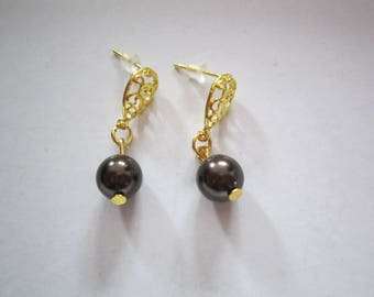 Swarovski Brown Pearl Earrings