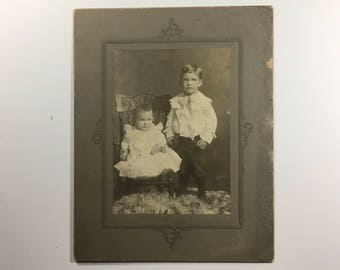 "Small cabinet card Twwo Boys, labeled ""Anna Alexanders two boys""  6 x 4"""