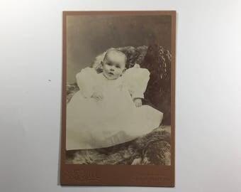 Antique Cabinet Card photo little child. Photographer H. F. Biel, Terre Haute, IN.