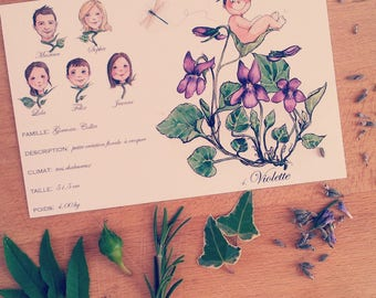 Illustrates how botanical print custom birth announcement