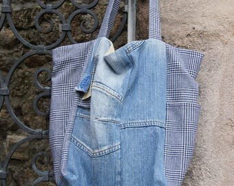 Scottish tweed and denim Tote handbag