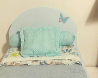 Wooden painted doll bed