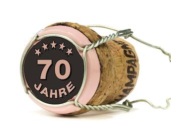 Einladung zum 70. Geburtstag: Champagner Korken