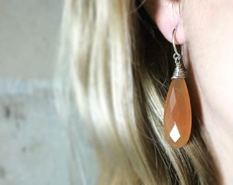 Orange red Onyx 925 Silver earrings