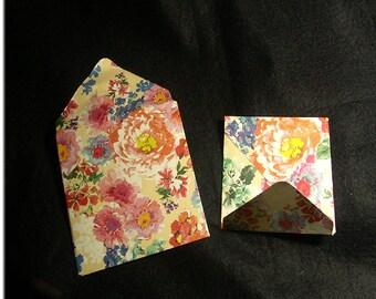 "Set of 6 fancy envelopes ""Spring"" imprimeesfloraux. Papeteriedecorativ"