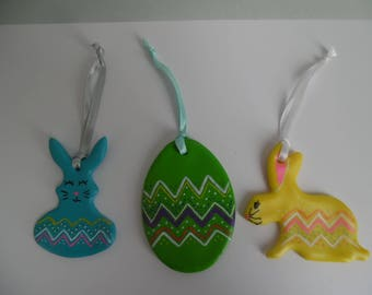 Set of 3 Easter bunnies and egg hanging decorations