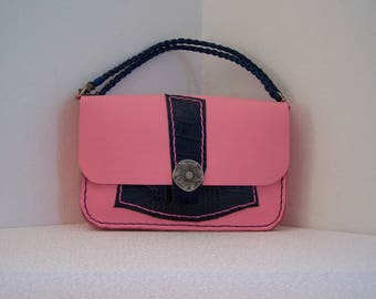 Pink and blue caiman leather bag