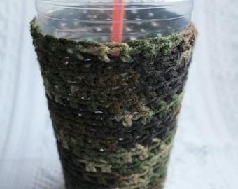 Camo Crochet Iced Coffee Cozy Coffee Sleeve Iced Coffee Sleeve Coffee Cozy Crochet Cozy