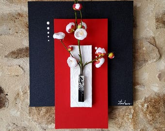 painting floral red black and white with Apple tree branch